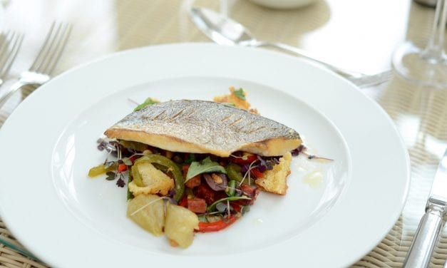 Roasted Fillet of Sea Bream with Peppenatta Salad, Chorizo and Olive Oil