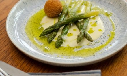 Isle of Wight Asparagus with 'Borthwood' Cheese Sauce and Fritter